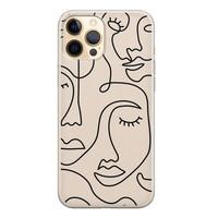 Leuke Telefoonhoesjes iPhone 12 siliconen hoesje - Abstract face line