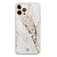 Casimoda iPhone 12 siliconen hoesje - Goud marmer