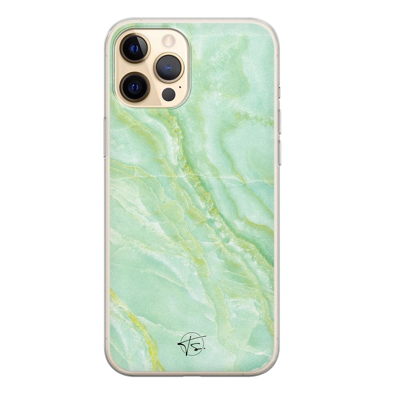 Telefoonhoesje Store iPhone 12 siliconen hoesje - Marmer Limegroen