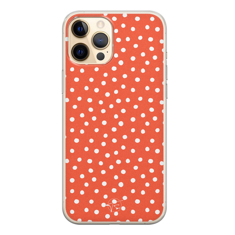 Telefoonhoesje Store iPhone 12 siliconen hoesje - Orange dots