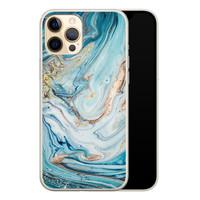 Telefoonhoesje Store iPhone 12 siliconen hoesje - Marmer blauw goud