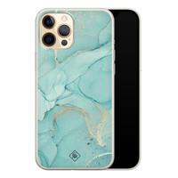 Casimoda iPhone 12 siliconen hoesje - Marmer mintgroen