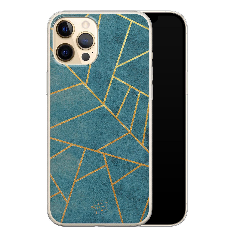 Telefoonhoesje Store iPhone 12 siliconen hoesje - Abstract blauw