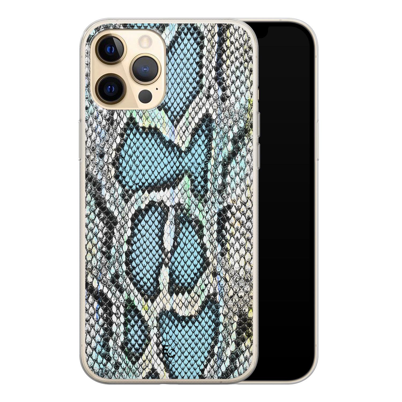 ELLECHIQ iPhone 12 siliconen hoesje - Baby Snake blue