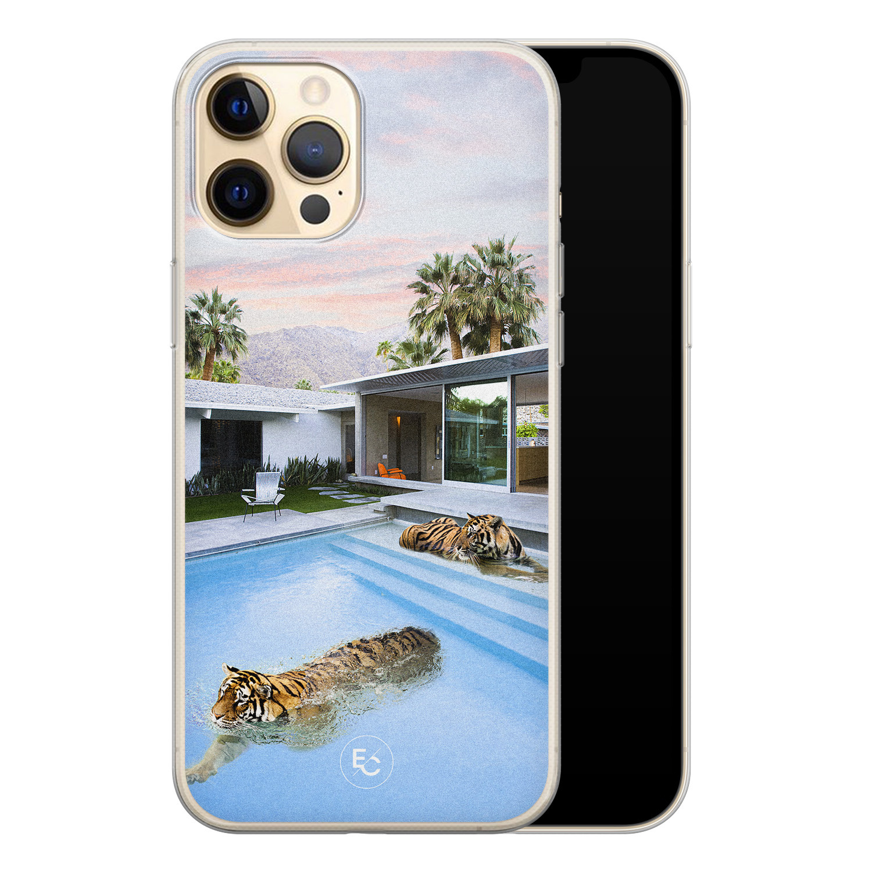 ELLECHIQ iPhone 12 Pro siliconen hoesje - Tiger pool