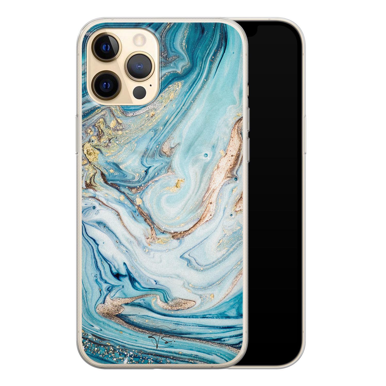 Telefoonhoesje Store iPhone 12 Pro siliconen hoesje - Marmer blauw goud