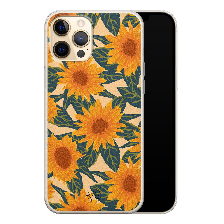 Telefoonhoesje Store iPhone 12 Pro siliconen hoesje - Zonnebloemen