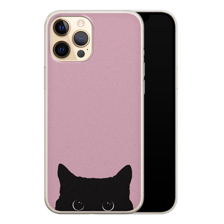 Telefoonhoesje Store iPhone 12 Pro siliconen hoesje - Zwarte kat