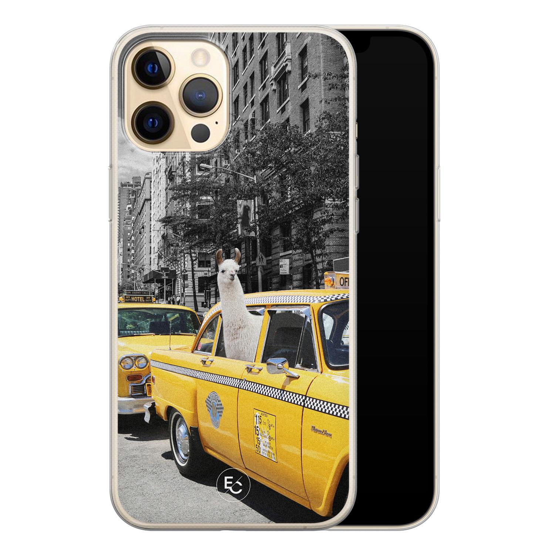 ELLECHIQ iPhone 12 Pro siliconen hoesje - Lama in taxi