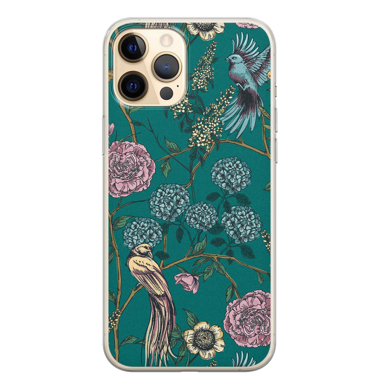 Telefoonhoesje Store iPhone 12 Pro siliconen hoesje - Bloomy birds
