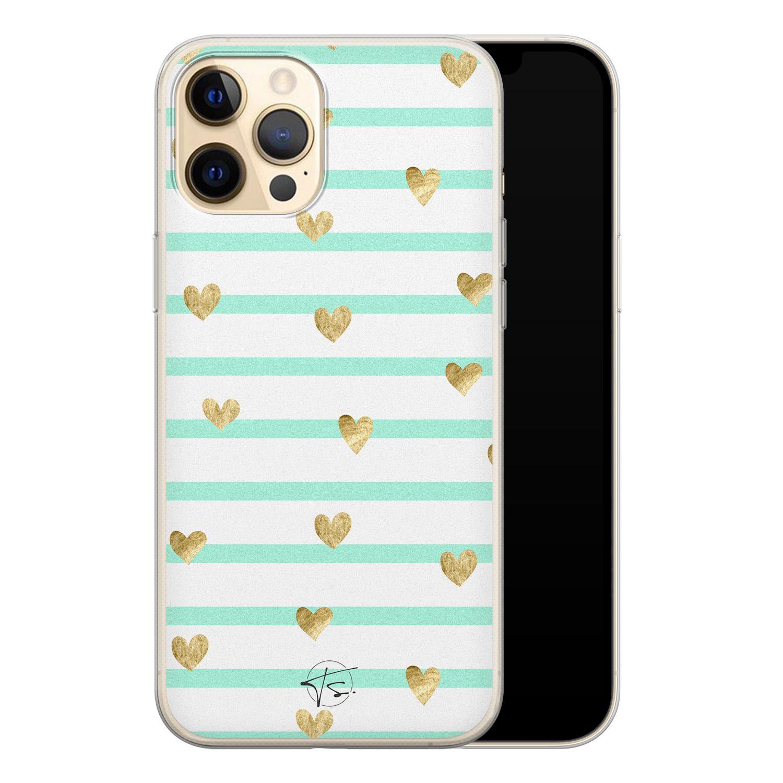 Telefoonhoesje Store iPhone 12 Pro siliconen hoesje - Mint hartjes