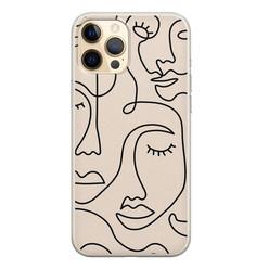 Leuke Telefoonhoesjes iPhone 12 Pro siliconen hoesje - Abstract face line