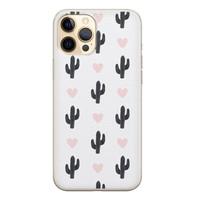 Leuke Telefoonhoesjes iPhone 12 Pro siliconen hoesje - Cactus hartjes