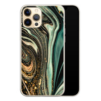ELLECHIQ iPhone 12 Pro siliconen hoesje - Marble Khaki Swirl