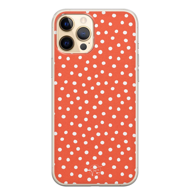 Telefoonhoesje Store iPhone 12 Pro siliconen hoesje - Orange dots
