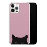 Telefoonhoesje Store iPhone 12 Pro Max siliconen hoesje - Zwarte kat