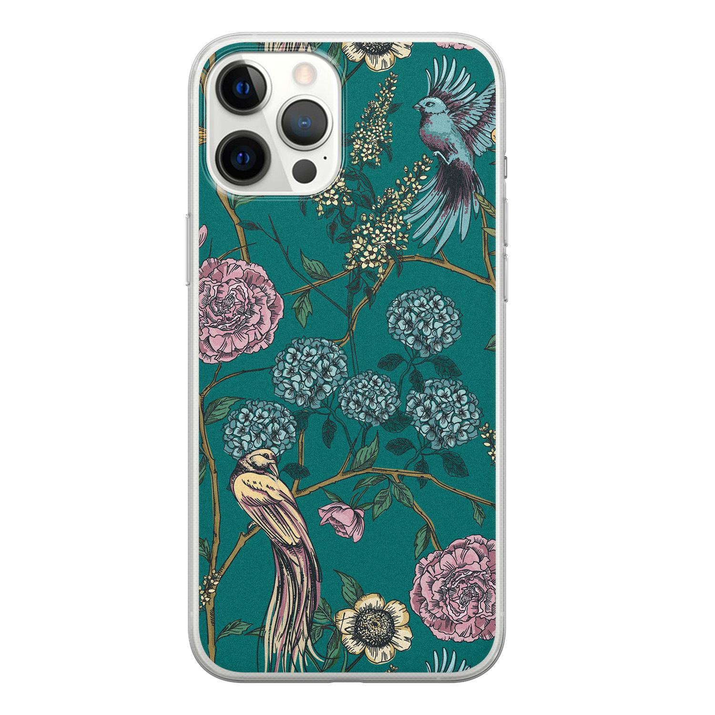 Telefoonhoesje Store iPhone 12 Pro Max siliconen hoesje - Bloomy birds