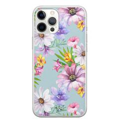 Telefoonhoesje Store iPhone 12 Pro Max siliconen hoesje - Mint bloemen