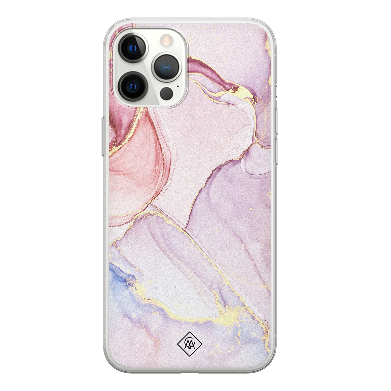 Casimoda iPhone 12 Pro Max siliconen hoesje - Marmer paars