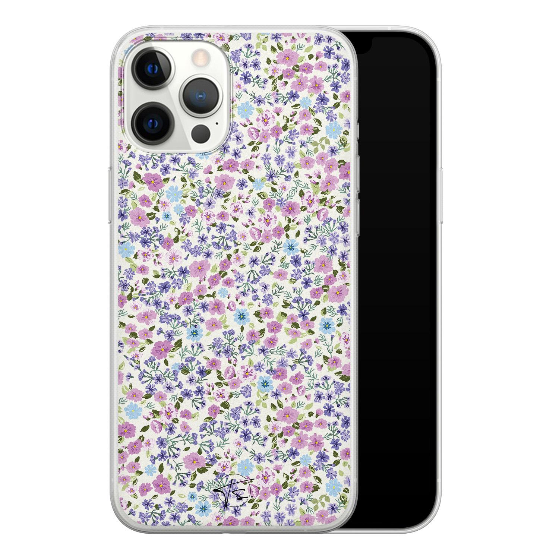 Telefoonhoesje Store iPhone 12 Pro Max siliconen hoesje - Purple Garden