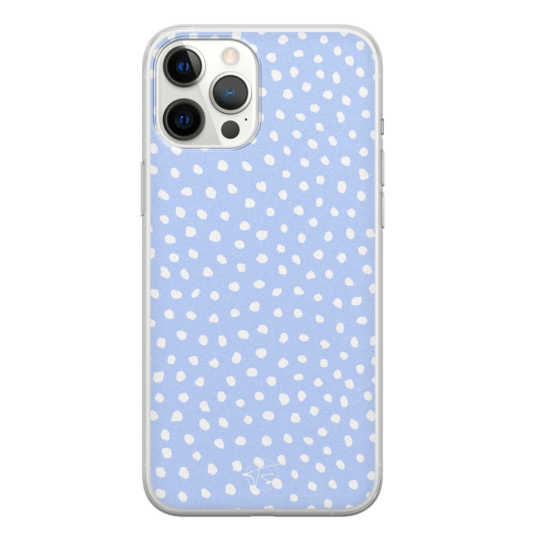 Telefoonhoesje Store iPhone 12 Pro Max siliconen hoesje - Purple dots