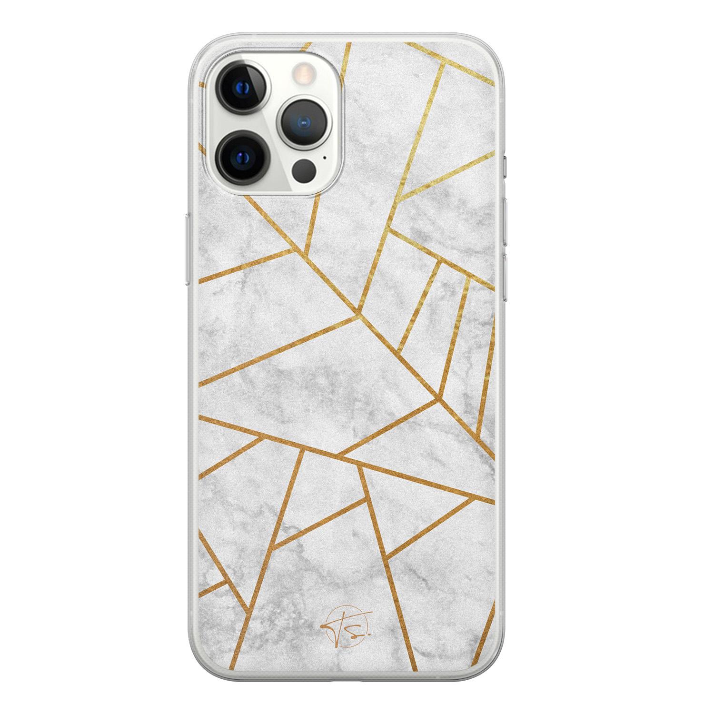 Telefoonhoesje Store iPhone 12 Pro Max siliconen hoesje - Geometrisch marmer