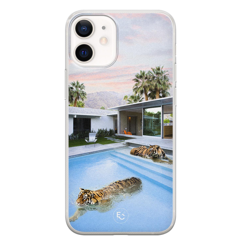 ELLECHIQ iPhone 12 mini siliconen hoesje - Tiger pool