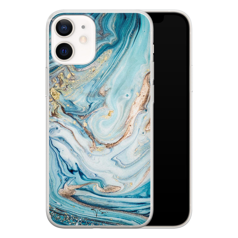 Telefoonhoesje Store iPhone 12 mini siliconen hoesje - Marmer blauw goud