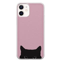 Telefoonhoesje Store iPhone 12 mini siliconen hoesje - Zwarte kat