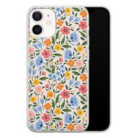 Telefoonhoesje Store iPhone 12 mini siliconen hoesje - Romantische bloemen