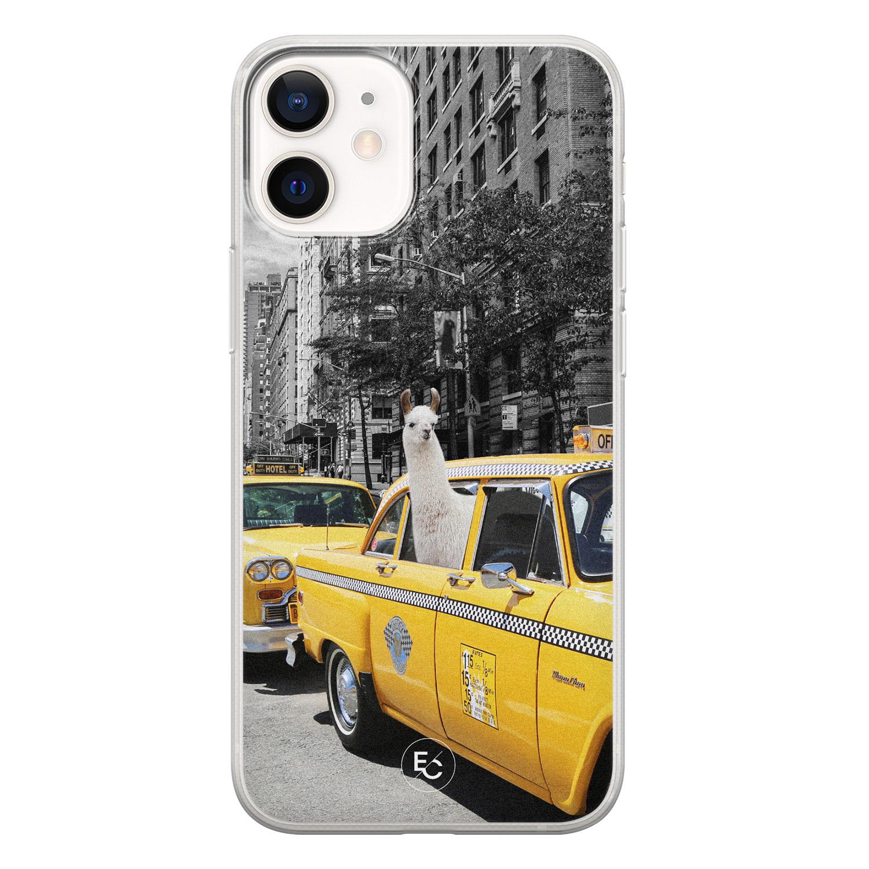 ELLECHIQ iPhone 12 mini siliconen hoesje - Lama in taxi