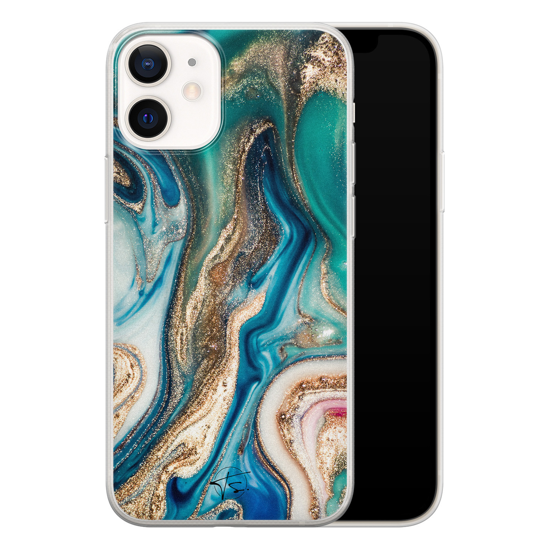 Telefoonhoesje Store iPhone 12 mini siliconen hoesje - Magic marble