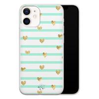 Telefoonhoesje Store iPhone 12 mini siliconen hoesje - Mint hartjes