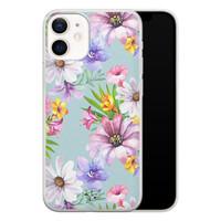 Telefoonhoesje Store iPhone 12 mini siliconen hoesje - Mint bloemen