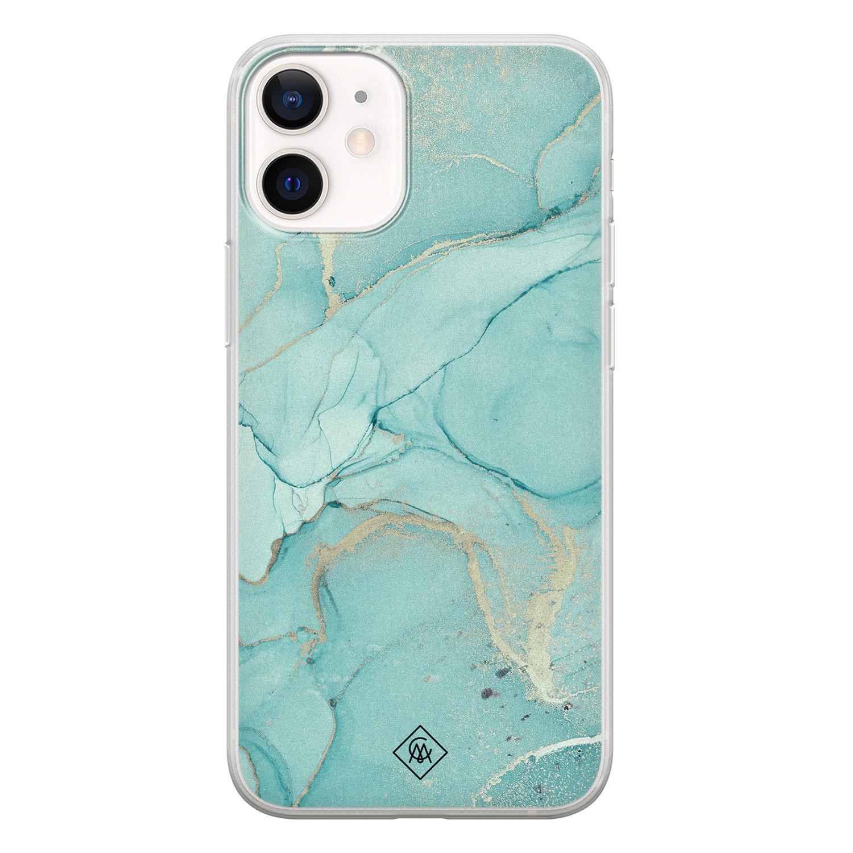 Casimoda iPhone 12 mini siliconen hoesje - Marmer mintgroen
