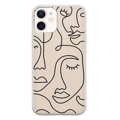 Leuke Telefoonhoesjes iPhone 12 mini siliconen hoesje - Abstract face line