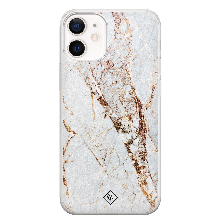 Casimoda iPhone 12 mini siliconen hoesje - Goud marmer