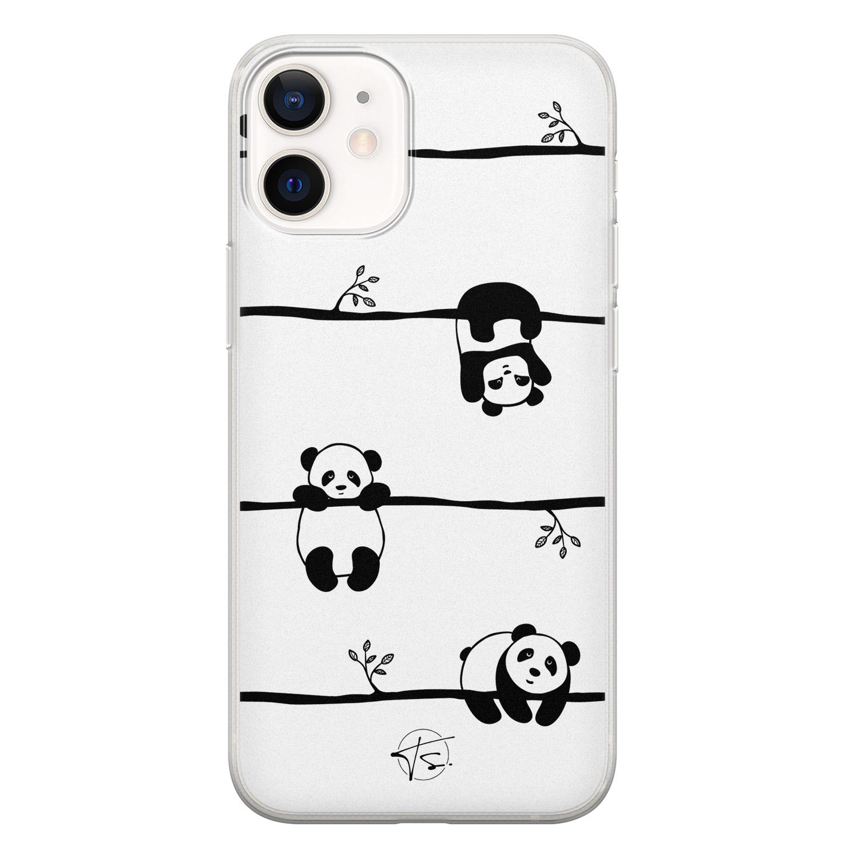 Telefoonhoesje Store iPhone 12 mini siliconen hoesje - Panda