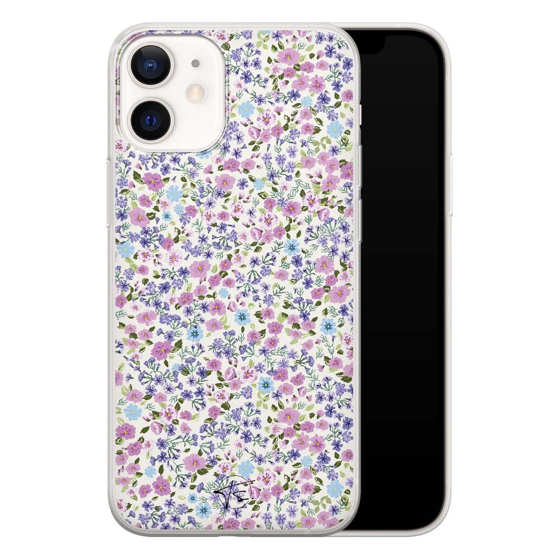 Telefoonhoesje Store iPhone 12 mini siliconen hoesje - Purple Garden