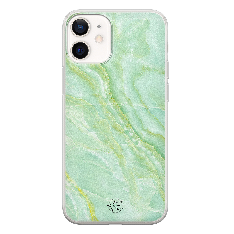 Telefoonhoesje Store iPhone 12 mini siliconen hoesje - Marmer Limegroen