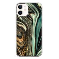 ELLECHIQ iPhone 12 mini siliconen hoesje - Marble Khaki Swirl