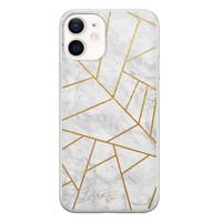 Telefoonhoesje Store iPhone 12 mini siliconen hoesje - Geometrisch marmer