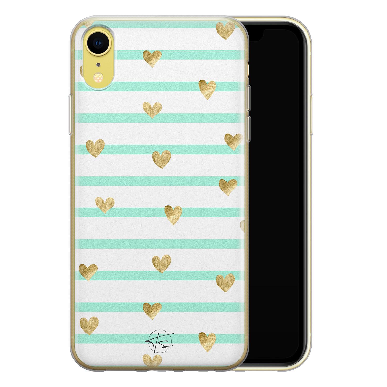 Telefoonhoesje Store iPhone XR siliconen hoesje - Mint hartjes