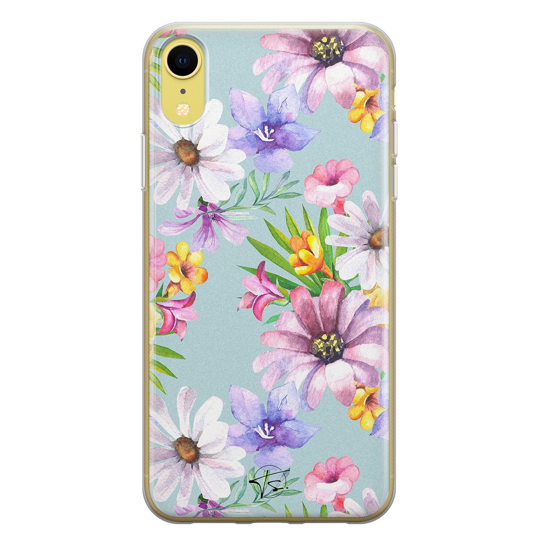 Telefoonhoesje Store iPhone XR siliconen hoesje - Mint bloemen
