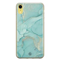 Casimoda iPhone XR siliconen hoesje - Marmer mintgroen