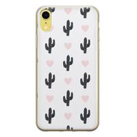 Leuke Telefoonhoesjes iPhone XR siliconen hoesje - Cactus hartjes