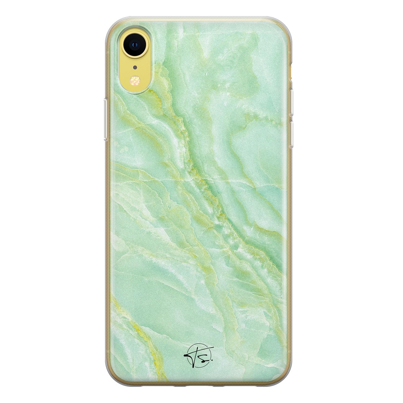 Telefoonhoesje Store iPhone XR siliconen hoesje - Marmer Limegroen