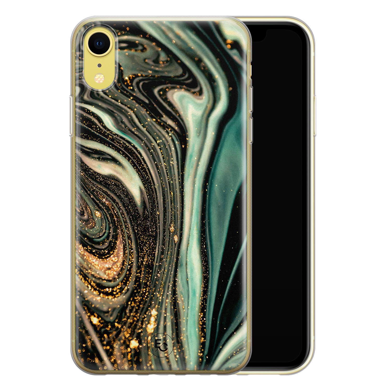 ELLECHIQ iPhone XR siliconen hoesje - Marble Khaki Swirl