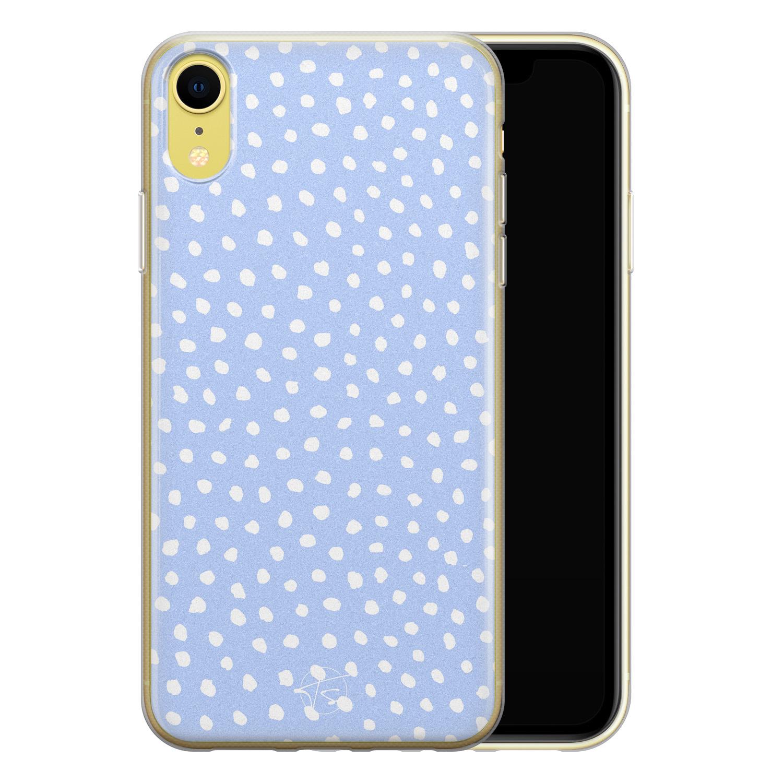 Telefoonhoesje Store iPhone XR siliconen hoesje - Lila stippen