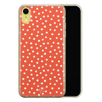 Telefoonhoesje Store iPhone XR siliconen hoesje - Oranje stippen